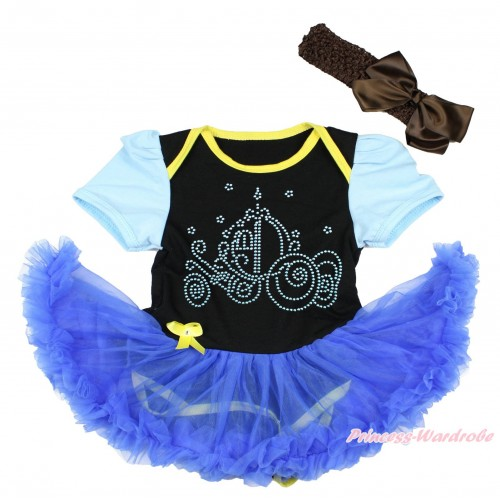 Light Blue Sleeve Black Baby Bodysuit Royal Blue Pettiskirt & Sparkle Rhinestone Cinderella Carriage Print JS4458