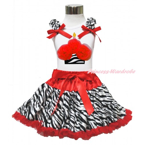 Red Zebra Print Pettiskirt With White Tank Top with Red Rosettes Zebra Birthday Cake &Zebra Ruffles& Red Bow MD05