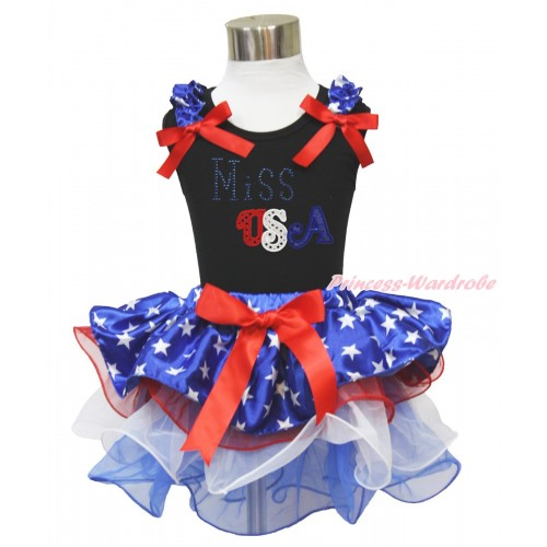 American's Birthday Black Tank Top Patriotic American Star Ruffles Red Bows & Rhinestone Miss USA Print & Red Bow Patriotic American Star Red White Blue Petal Pettiskirt MG1570