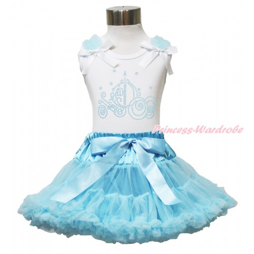 White Tank Top Light Blue Ruffles White Bow & Sparkle Rhinestone Cinderella Carriage Print & Light Blue Pettiskirt MG1598