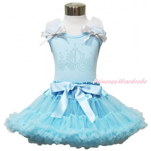 Light Blue Tank Top White Ruffles Sparkle Silver Grey Bow & Sparkle Rhinestone Cinderella Carriage Print & Light Blue Pettiskirt MH294