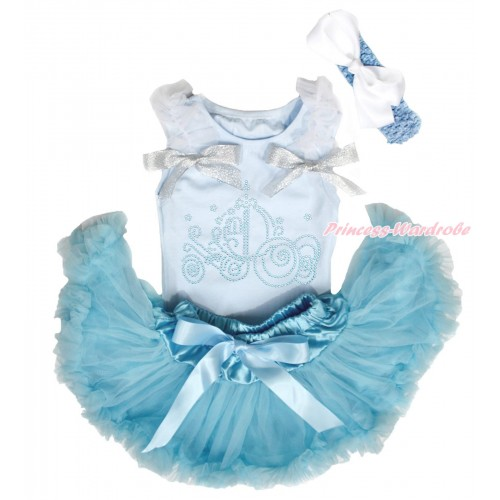 Light Blue Baby Pettitop White Ruffles Sparkle Silver Grey Bows & Sparkle Rhinestone Cinderella Carriage Print & Light Blue Newborn Pettiskirt NG1672