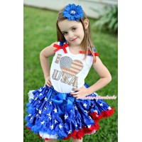 American's Birthday White Baby Pettitop Patriotic American Star Ruffles Red Bows & Sparkle Rhinestone I Love USA & Patriotic American Star Newborn Pettiskirt NN293