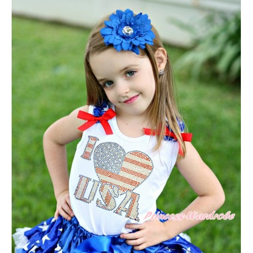 American's Birthday White Tank Top Patriotic American Star Ruffles Red Bow & Sparkle Rhinestone I Love USA Print TB1111