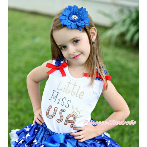 American's Birthday White Tank Top Patriotic American Star Ruffles Red Bow & Sparkle Rhinestone Little Miss USA Print TB1112