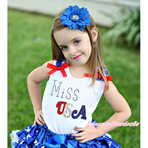 American's Birthday White Tank Top Patriotic American Star Ruffles Red Bow & Sparkle Rhinestone Miss USA Print TB1113