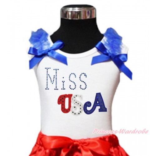 American's Birthday White Tank Top Royal Blue Ruffles & Bow & Sparkle Rhinestone Miss USA Print TB1114