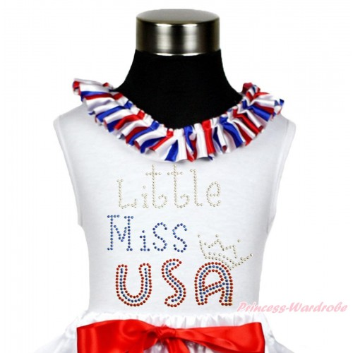 American's Birthday White Tank Top Red White Royal Blue Striped Lacing & Sparkle Rhinestone Little Miss USA TB1116