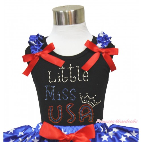 American's Birthday Black Tank Top Patriotic American Star Ruffles Red Bow & Sparkle Rhinestone Little Miss USA Print TB1117