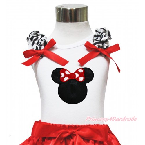 White Tank Top Zebra Ruffles Red Bow & Red Minnie Print TB1119