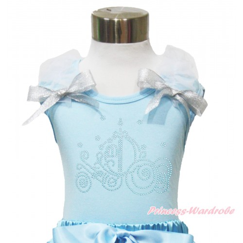 Light Blue Tank Top White Ruffles Sparkle Silver Grey Bow & Sparkle Rhinestone Cinderella Carriage Print TM298
