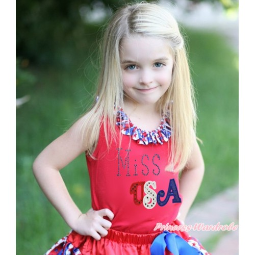 American's Birthday Red Tank Top Red White Blue Striped Star Lacing & Sparkle Rhinestone Miss USA Print TN277