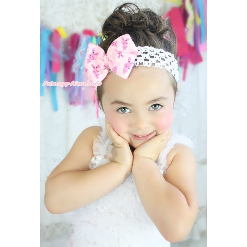 Easter White Headband with Light Hot Pink Rabbit Ribbon Bow Hair Clip H1017