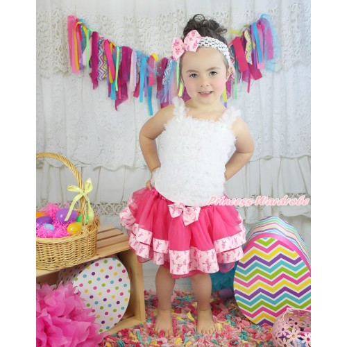 Easter White Baby Ruffles Tank Top & Rabbit Bow Hot Pink Rabbit Trimmed Baby Pettiskirt NR74