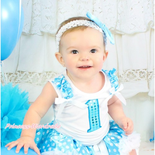 White Tank Top Light Blue White Dots Ruffles White Bow & 1st Sparkle Light Blue Birthday Number Print TB1120