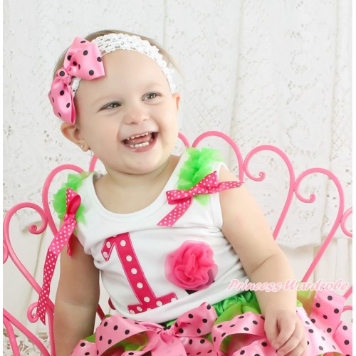 White Tank Top Dark Green Ruffles Hot Pink White Dots Bow & 1st Hot Pink White Dots Birthday Number & Cupcake TB1121