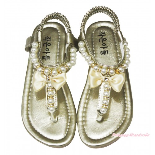 Gold Bow Pearl T-Strap Flat Ankle Sandals 601Gold