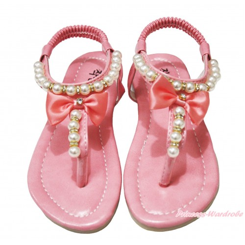 Light Pink Bow Pearl T-Strap Flat Ankle Sandals 601LightPink