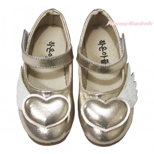 Gold Angel Heart Slip On Girl School Casual Shoes A18Gold