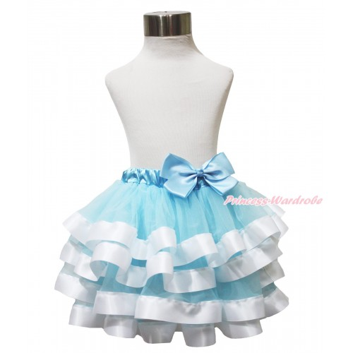 Princess Cinderella Light Blue & White Trimmed Full Pettiskirt & Light Blue Bow B279