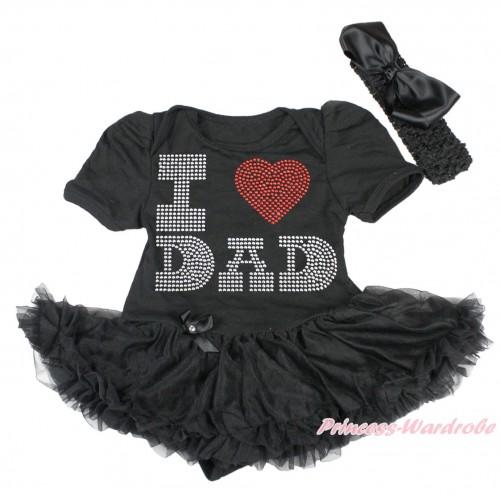 Black Baby Bodysuit Pettiskirt & Sparkle Rhinestone I Love Dad Print JS4475