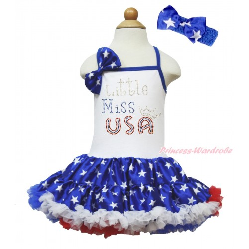 American's Birthday White Halter Patriotic American Star ONE-PIECE Dress & American Star Satin Bow & Sparkle Rhinestone Little Miss USA Print LP202