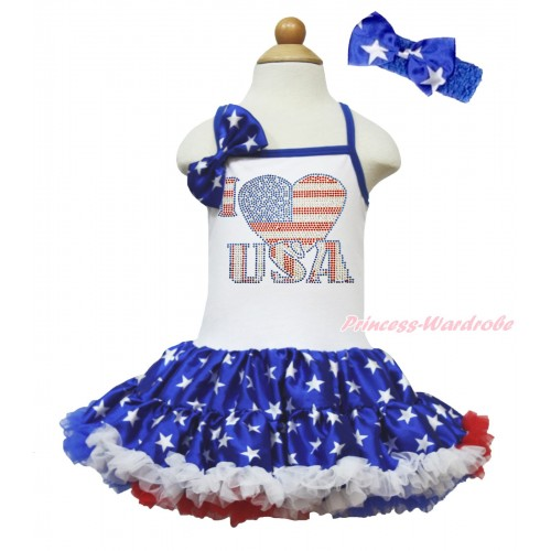 American's Birthday White Halter Patriotic American Star ONE-PIECE Dress & American Star Satin Bow & Sparkle Rhinestone I Love USA Print LP203