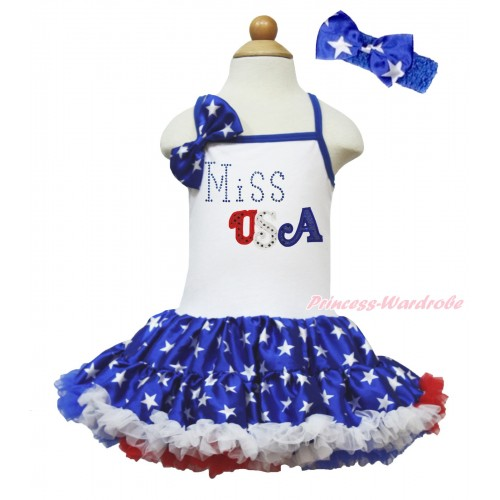 American's Birthday White Halter Patriotic American Star ONE-PIECE Dress & American Star Satin Bow & Sparkle Rhinestone Miss USA Print LP204