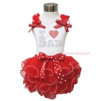White Tank Top Red Ruffles Minnie Dots Bow & Sparkle Rhinestone I Love Dad & Minnie Dots Bow Red Petal Pettiskirt MG1610