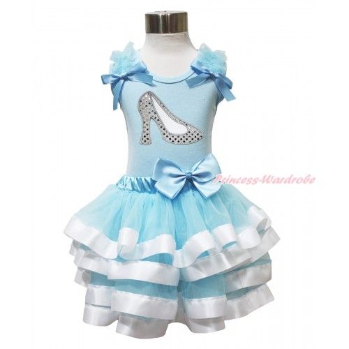 Light Blue Tank Top & Ruffles & Bows & Sparkle White High Heel Shoes & Light Blue White Trimmed Pettiskirt MH297