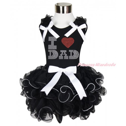 Black Baby Pettitop Black Ruffles White Bow & Sparkle Rhinestone I Love Dad & White Bow Black Petal Newborn Pettiskirt NG1681