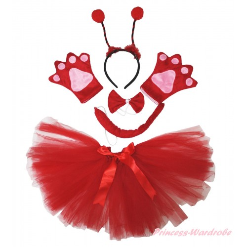 Beetle 4 Piece Set in Headband, Tie, Tail , Paw & Red Ballet Tutu & Bow PC086