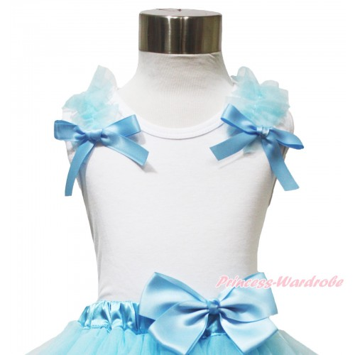 White Tank Top Light Blue Ruffles & Bow TB1124