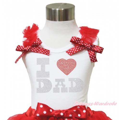 White Tank Top Red Ruffles Minnie Dots Bow & Sparkle Rhinestone I Love Dad Print TB1125