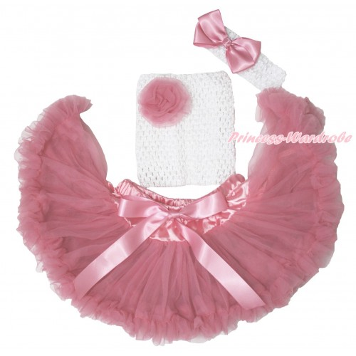 Dusty Pink Baby Pettiskirt, Rose White Crochet Tube Top, White Headband Dusty Pink Silk Bow 3PC Set CT706