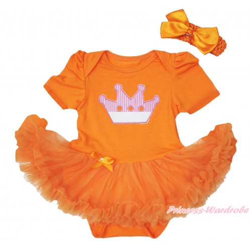 Queen's Day Orange Baby Bodysuit Pettiskirt & Crown Print JS4447