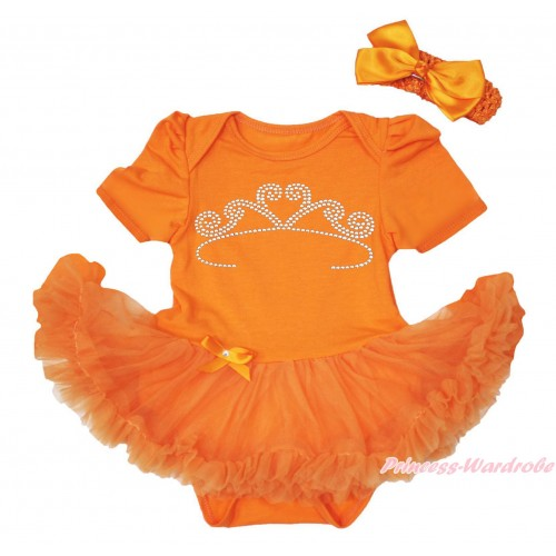 Queen's Day Orange Baby Bodysuit Pettiskirt & Sparkle Rhinestone White Crown Print JS4448