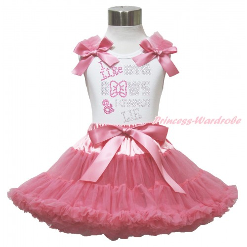 White Tank Top Dusty Pink Ruffles & Bow & Sparkle Rhinestone I Like Big Bows Print & Dusty Pink Pettiskirt MG1543
