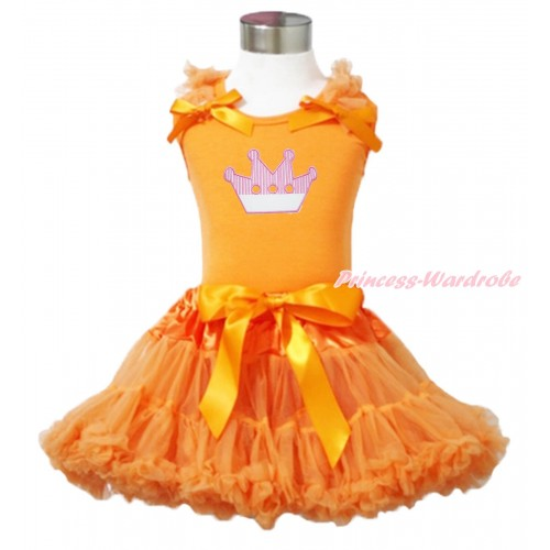 Queen's Day Orange Tank Top Orange Ruffles & Bow & Crown Print & Orange Pettiskirt MN143