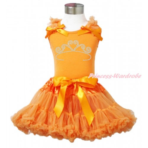 Queen's Day Orange Tank Top Orange Ruffles & Bow & Sparkle Rhinestone White Crown Print & Orange Pettiskirt MN144