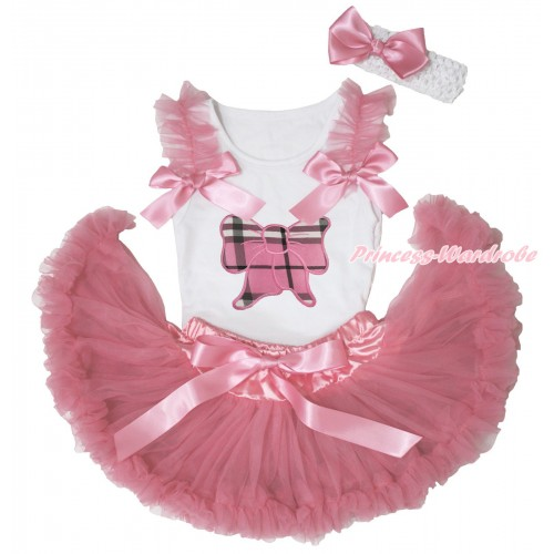 White Baby Pettitop Dusty Pink Ruffles & Bows & Light Pink Checked Butterfly Print & Dusty Pink Newborn Pettiskirt NN277