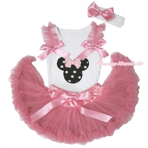 White Baby Pettitop Dusty Pink Ruffles & Bows & Black White Dots Minnie Print & Dusty Pink Newborn Pettiskirt NN279
