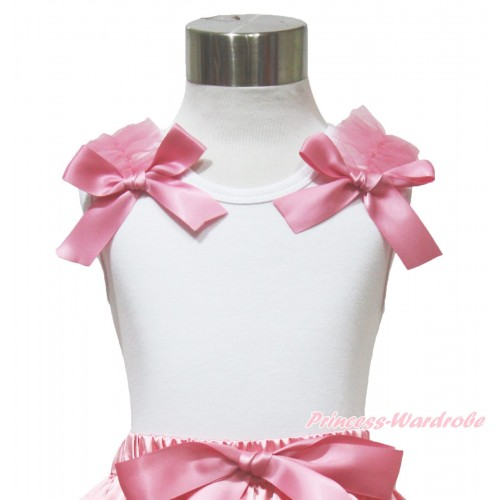 White Tank Top Dusty Pink Ruffles & Bow TB1083