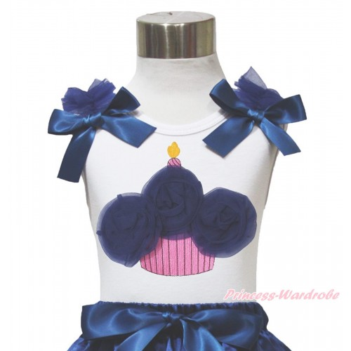 White Tank Top Navy Blue Ruffles & Bow & Navy Blue Rosettes Birthday Cake Print TB1084
