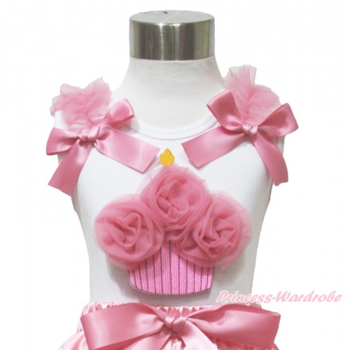 White Tank Top Dusty Pink Ruffles & Bow & Dusty Pink Rosettes Birthday Cake Print TB1086