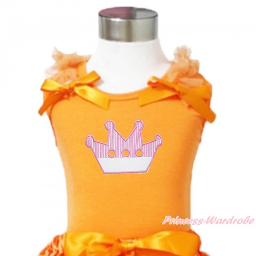 Queen's Day Orange Tank Top Orange Ruffles & Bows & Crown Print TN273