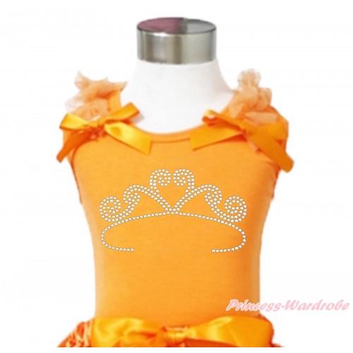 Queen's Day Orange Tank Top Orange Ruffles & Bows & Sparkle Rhinestone White Crown Print TN274