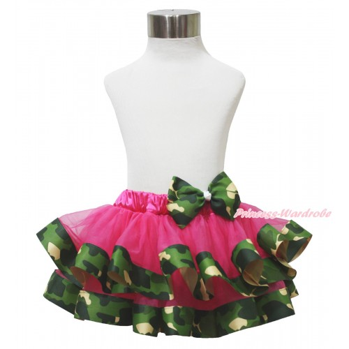 Hot Pink & Camouflage Satin Trimmed Full Pettiskirt & Camouflage Bow B281