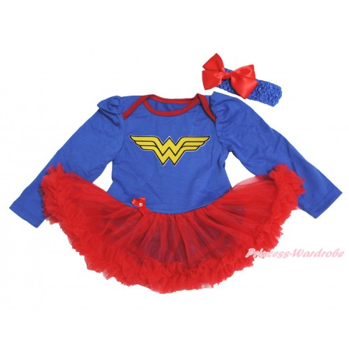 Royal Blue Long Sleeve Bodysuit Red Pettiskirt & Wonder Woman Print JS4496