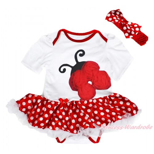 White Baby Bodysuit Minnie Dots White Pettiskirt & Red Rosettes Beetle Print JS4504